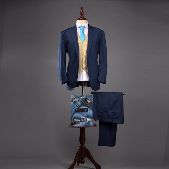 ELECTRIC BLUE SUIT WITH GOLD WAIST COAT